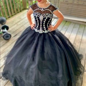 Size 10 Ritzee Girls Pageant Dress - Black
